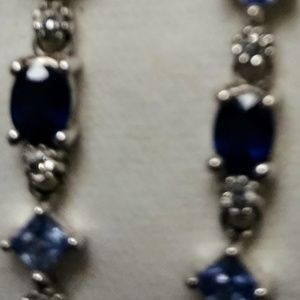 Sterling Silver Sapphire and Diamond Earrings